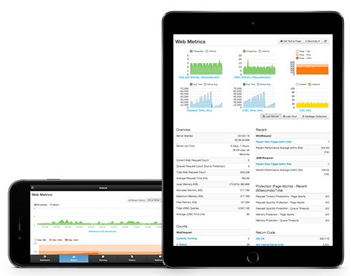 FusionReactor server monitor: mobile system metrics on iphone and ipad