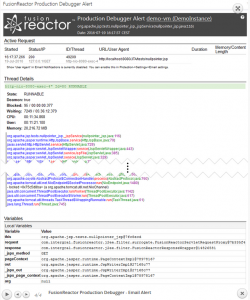 Debugger Email Alert Showing Stacktrace