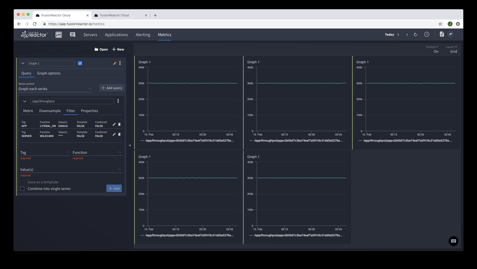 Web metrics explorer - FusionReactor hybrid cloud