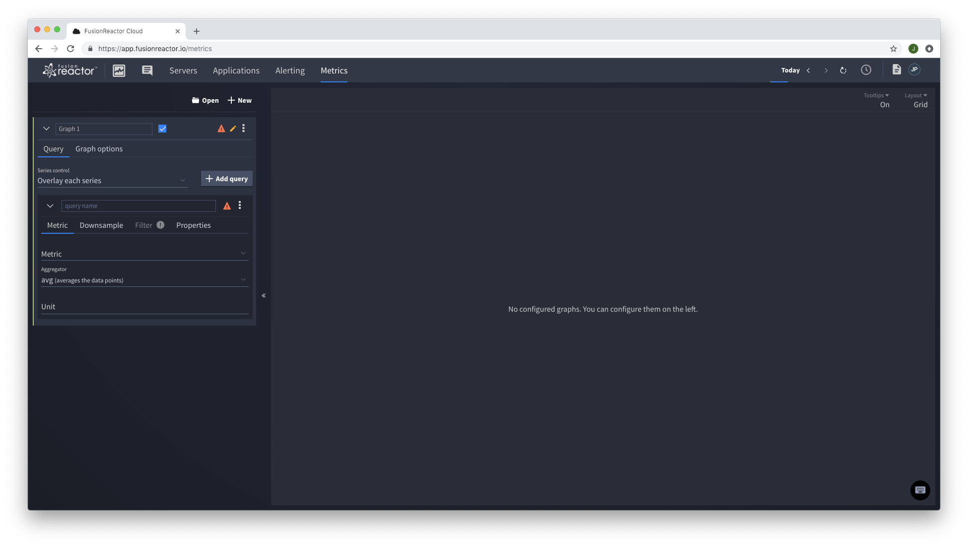 Web Metrics Explorer FusionReactor Cloud
