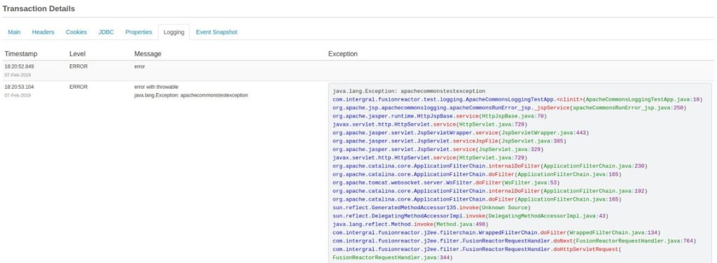 Configuring and Disabling log tracking in FusionReactor, FusionReactor