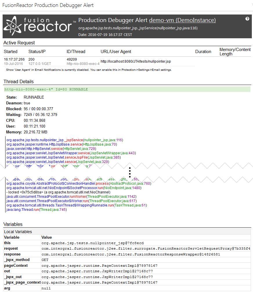 Production Debugger, FusionReactor