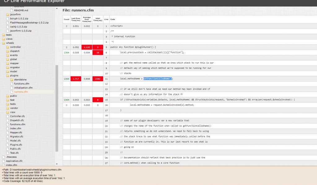 Debugging plugin performance in CFWheels 2.x with FusionReactor, FusionReactor
