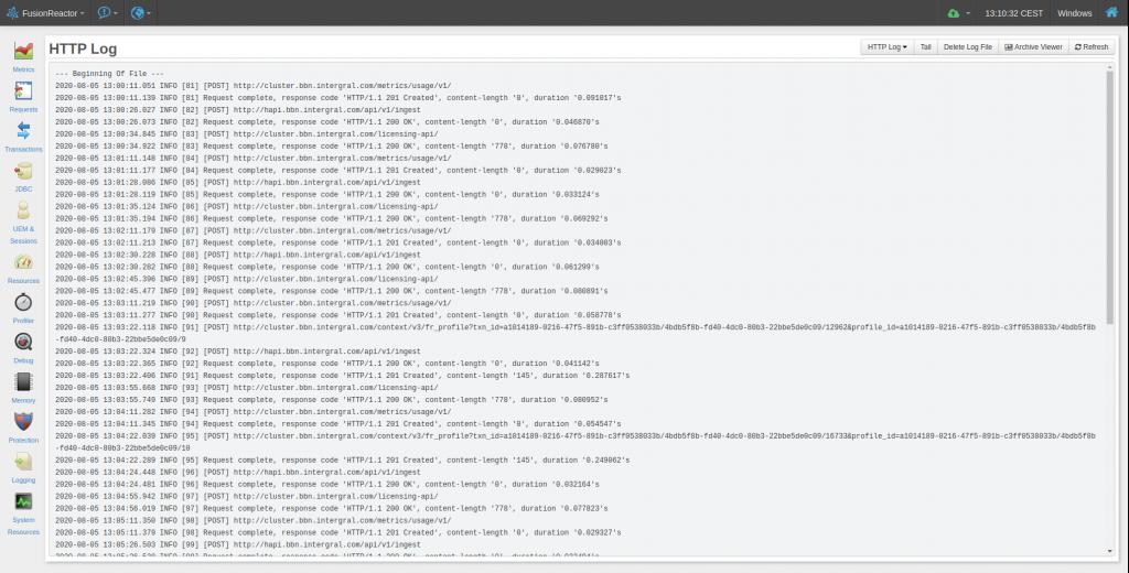 FusionReactor live logs