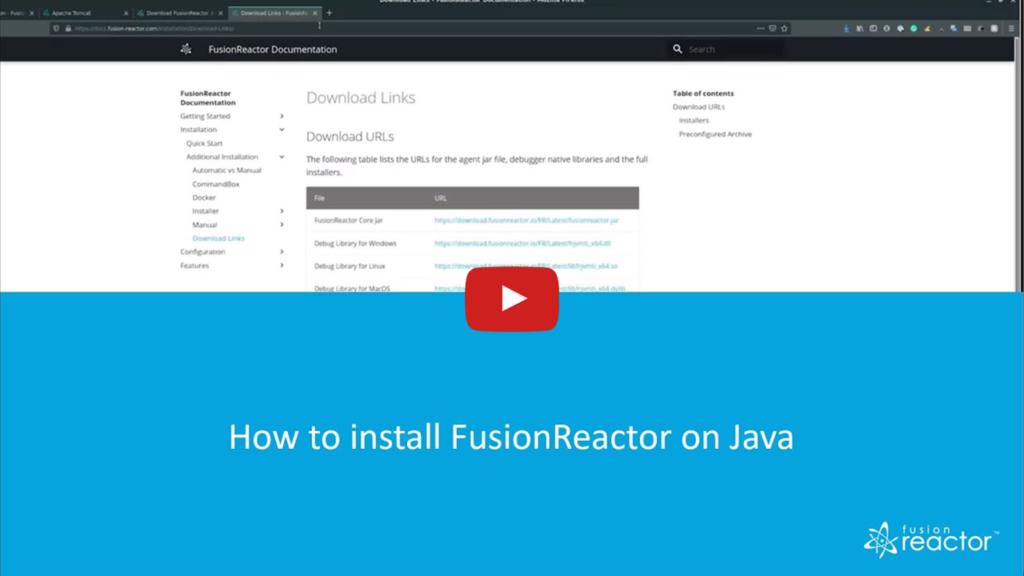 Installation, FusionReactor
