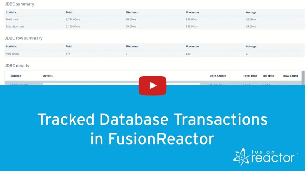 Database Monitoring, FusionReactor
